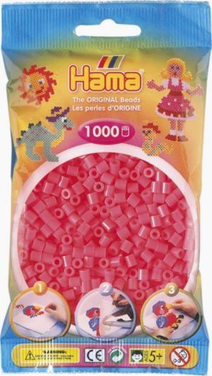 HAMA BEADS MIDI 1000 CEREZA FLOURESCENTE (COLOR 33)