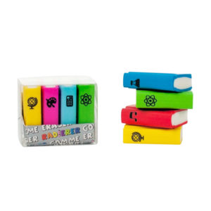 PACK 4 GOMAS DE BORRAR MINI LIBROS